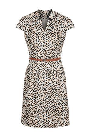jurk met all over print en ceintuur ecru/lichtbruin/zwart