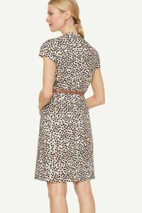comma jurk met all over print en ceintuur ecru/lichtbruin/zwart, Ecru/lichtbruin/zwart