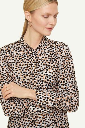 blouse met all over print beige/lichtbruin/zwart