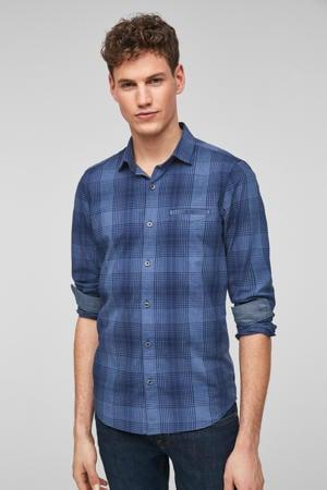 geruit slim fit overhemd blauw
