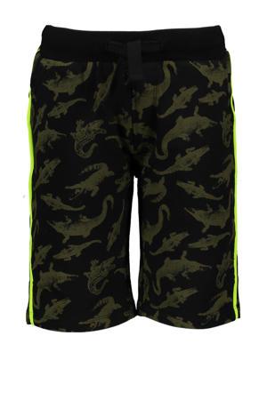 slim fit sweatshort met zijstreep zwart/donkergroen/neon groen