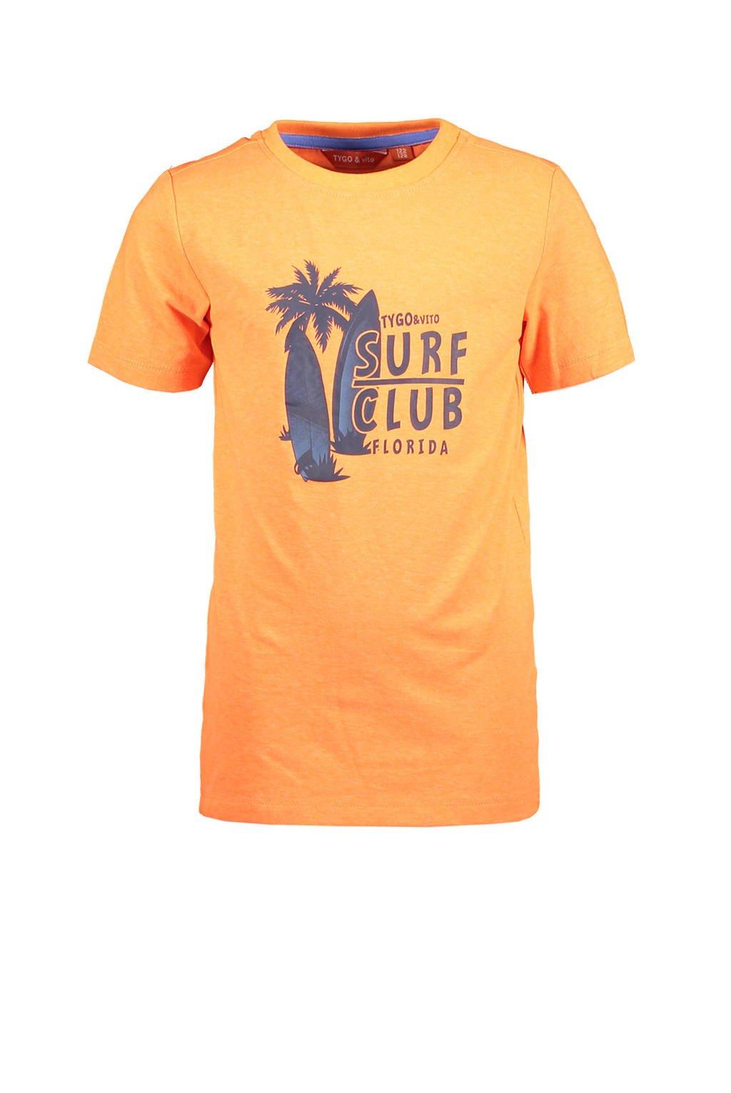 TYGO & vito T-shirt met printopdruk oranje, Oranje