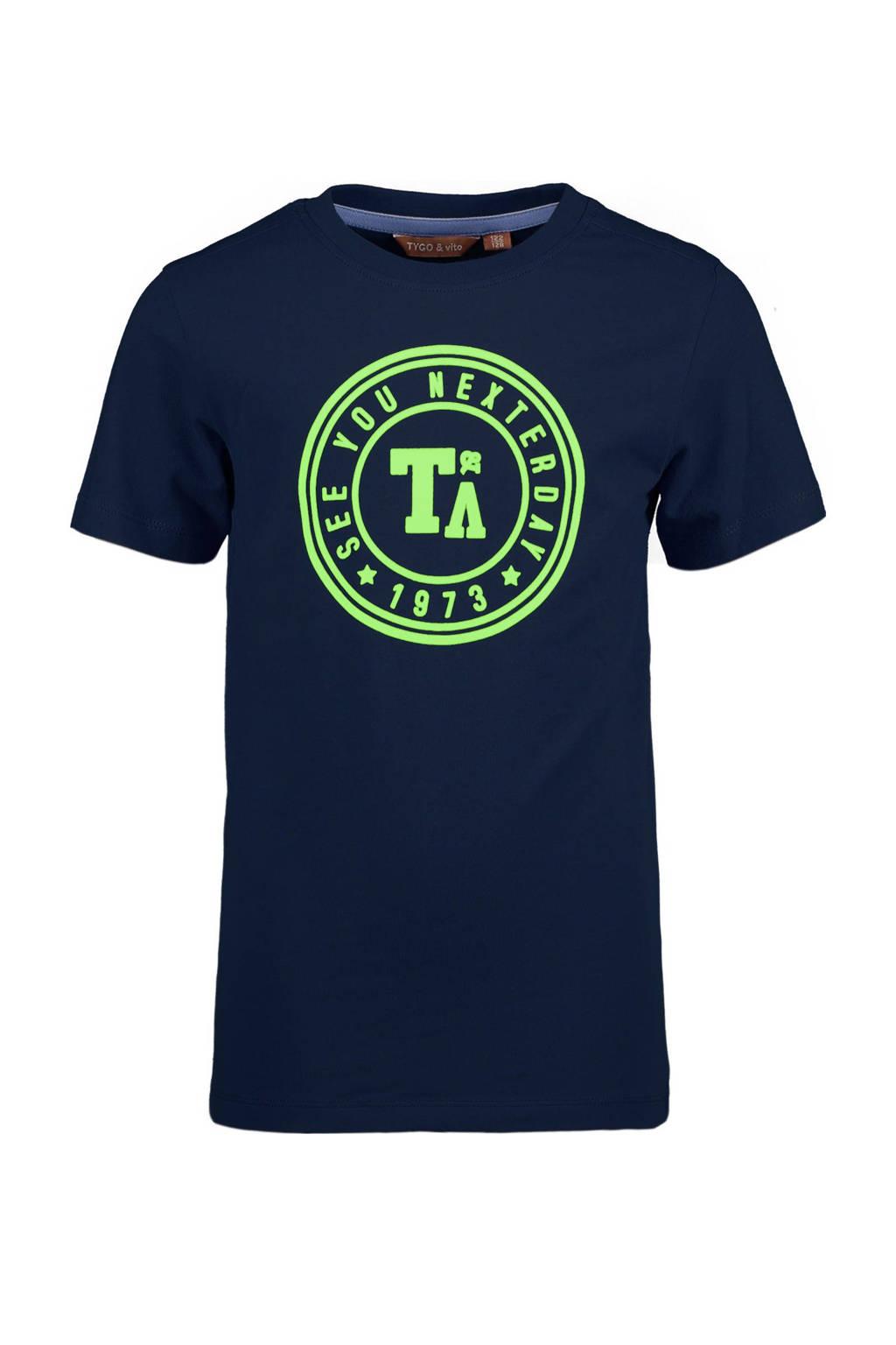 TYGO & vito T-shirt met biologisch katoen donkerblauw, Donkerblauw