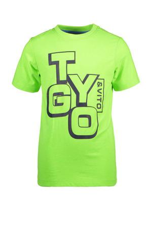T-shirt met tekst groen/zwart