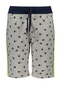 TYGO & vito slim fit sweatshort met zijstreep grijs melange/donkerblauw/geel, Grijs melange/donkerblauw/geel