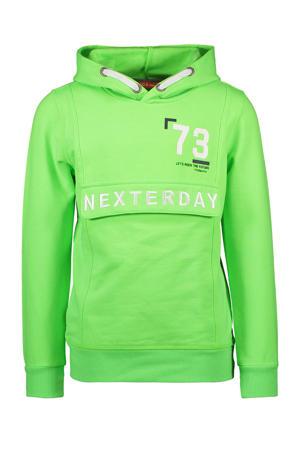 hoodie met tekst felgroen/wit