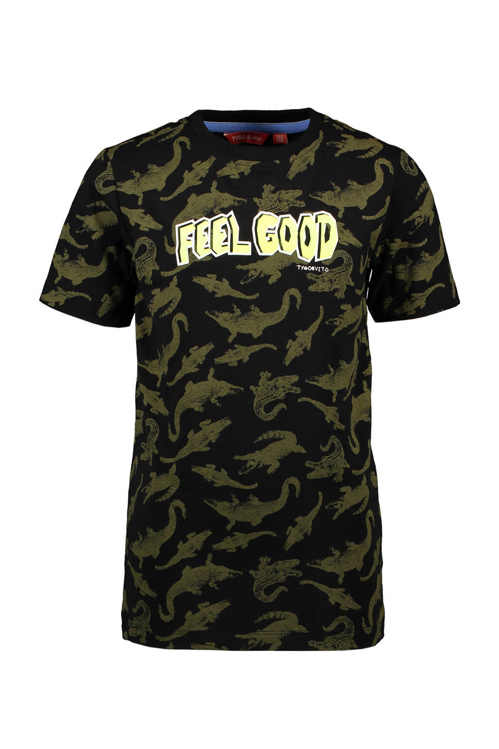 TYGO & vito T-shirt met all over print zwart/donkergroen/lichtgeel, Zwart.donkergroen/lichtgeel