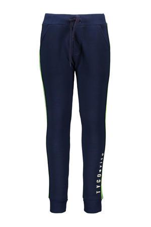 slim fit joggingbroek met zijstreep donkerblauw/groen/geel