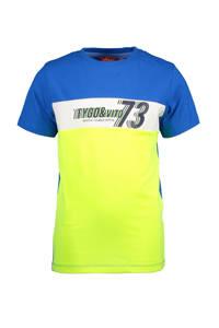TYGO & vito T-shirt met biologisch katoen blauw/geel/wit, Blauw/geel/wit