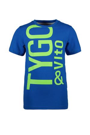 T-shirt met biologisch katoen blauw/groen