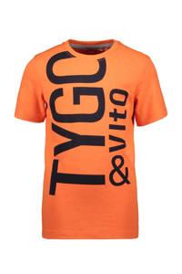 TYGO & vito T-shirt met biologisch katoen donkerblauw, Oranje