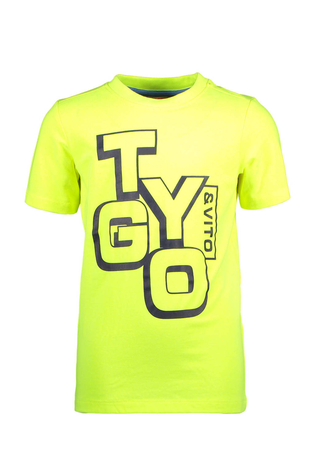 TYGO & vito T-shirt met tekst neon geel/zwart, Neon geel/zwart