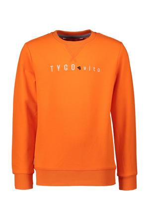 sweater met tekst oranje
