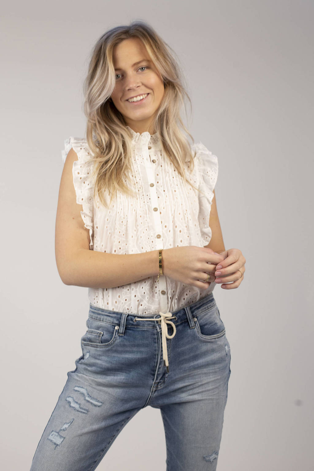 Circle of Trust semi-transparante blouse Katie met ruches wit, Wit