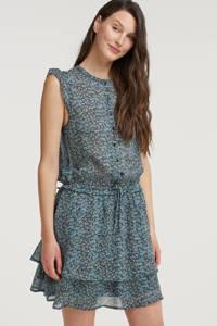 Circle of Trust semi-transparante jurk Blair met all over print en ruches blauw, Blauw