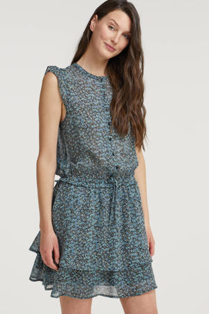 semi-transparante jurk Blair met all over print en ruches blauw
