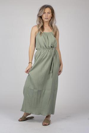 maxi jurk Ava met plooien vergrijsd groen