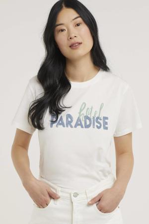 T-shirt Suri met tekst gebroken wit