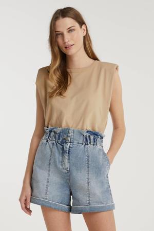high waist wide leg jeans short Aria light blue