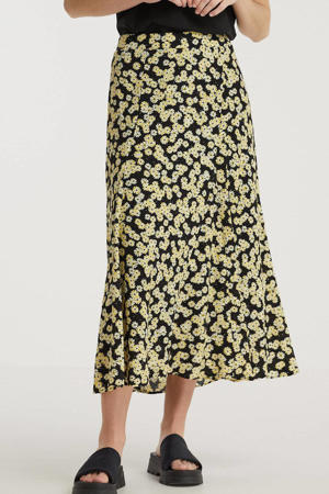 gebloemde rok Daisy Field zwart/ geel