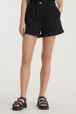 high waist wide leg jeans short Aria zwart