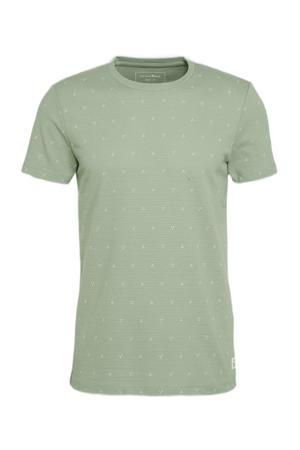 T-shirt met all over print en textuur lichtgroen
