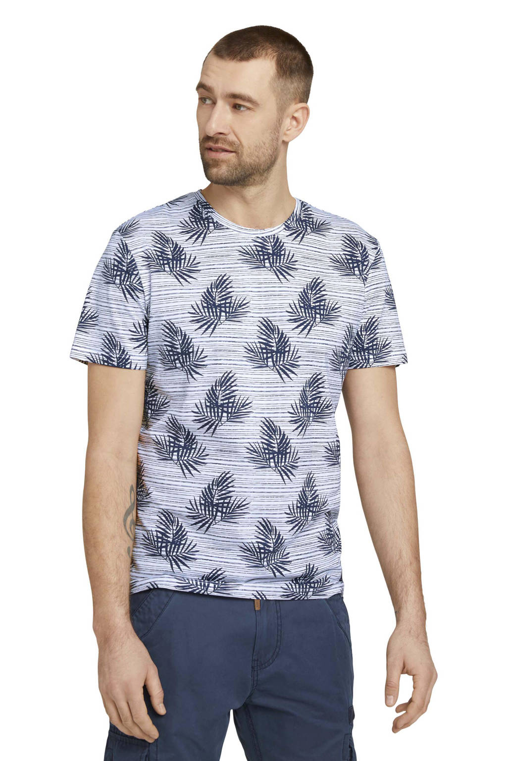 Tom Tailor T-shirt met all over print donkerblauw/wit, Donkerblauw/wit
