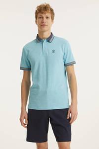 Tom Tailor regular fit polo met contrastbies lichtblauw, Lichtblauw