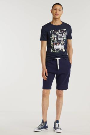 T-shirt met printopdruk sky captain blue