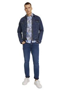 Tom Tailor slim fit overhemd met bladprint blauw, Blauw