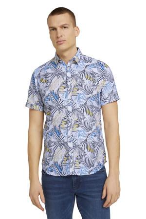 slim fit overhemd met bladprint blauw