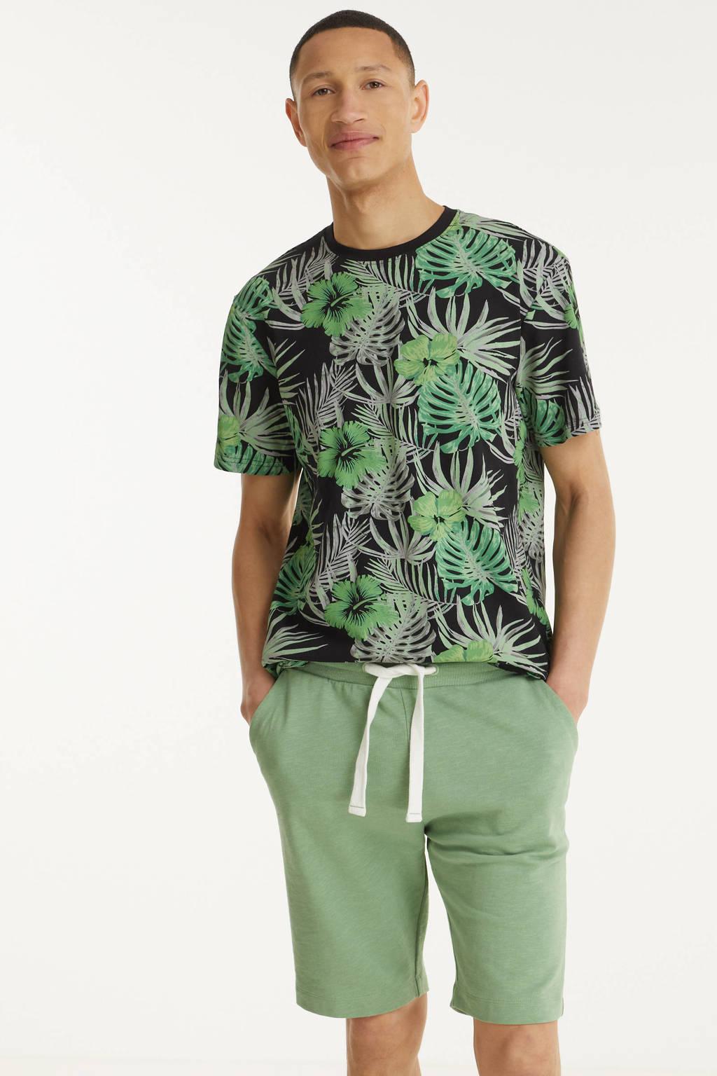Tom Tailor gemêleerde regular fit sweatshort groen, Groen