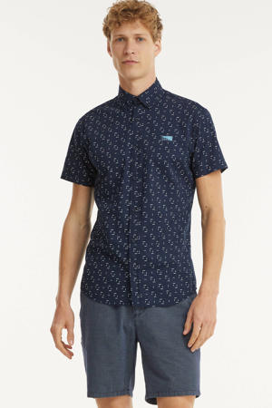 regular fit overhemd Texas met all over print donkerblauw