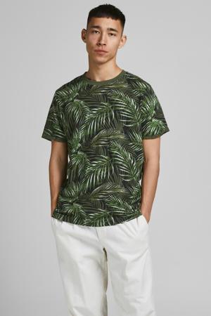 T-shirt met bladprint zwart/groen