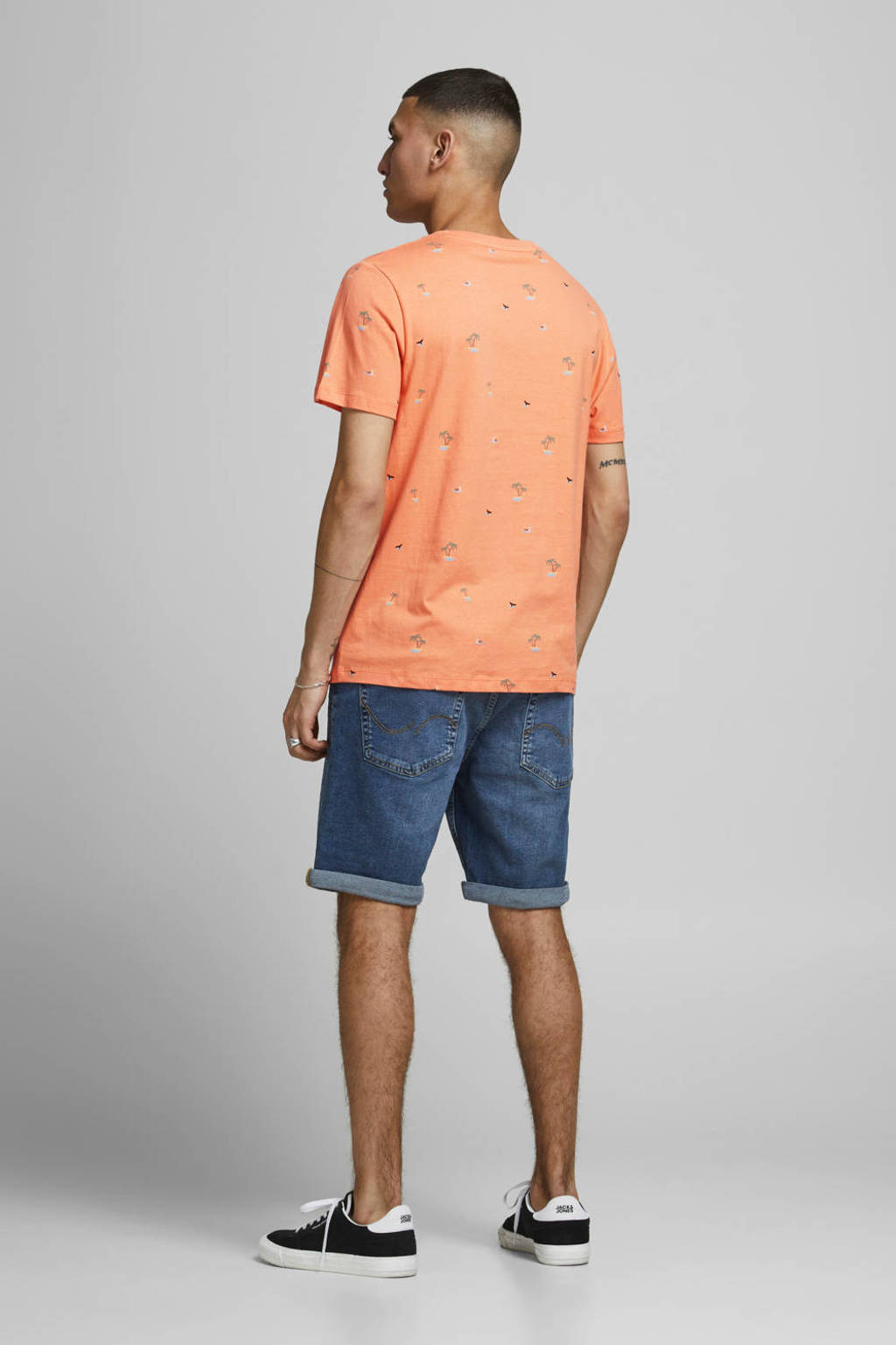 JACK & JONES ORIGINALS T-shirt Playa met all over print koraalrood, Koraalrood