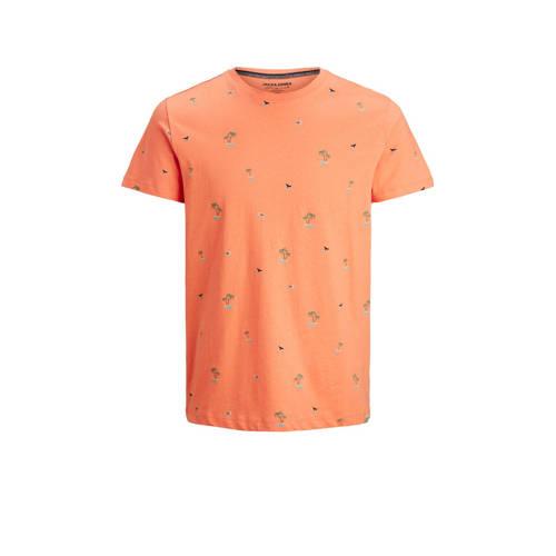 JACK & JONES ORIGINALS T-shirt Playa met all over print koraalrood