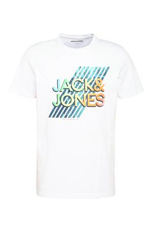 T-shirt met logo wit/blauw/mintgroen