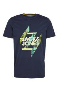 JACK & JONES T-shirt met logo donkerblauw/groen, Donkerblauw/groen