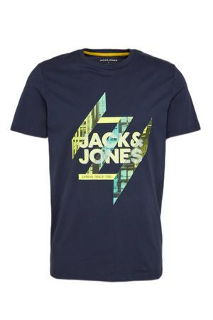 T-shirt met logo donkerblauw/groen
