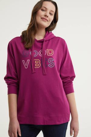 hoodie met tekst paars