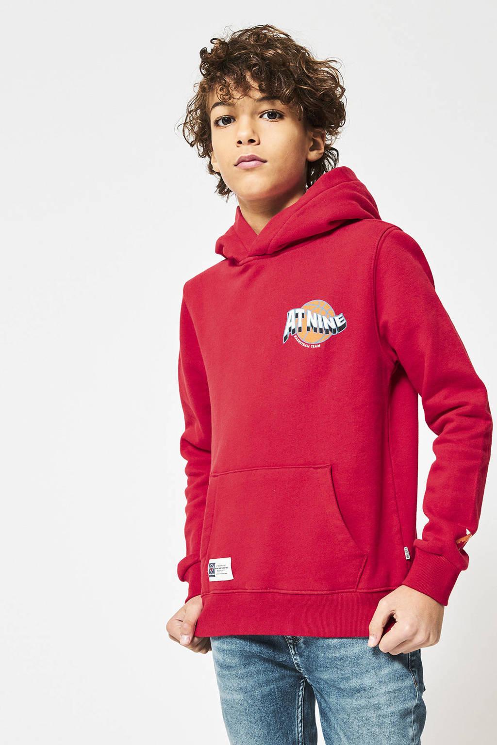 America Today Junior hoodie Stearn met tekst rood, Rood