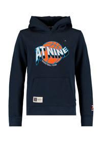 America Today Junior hoodie Stearn met tekst donkerblauw/oranje, Donkerblauw/oranje