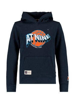 hoodie Stearn met tekst donkerblauw/oranje