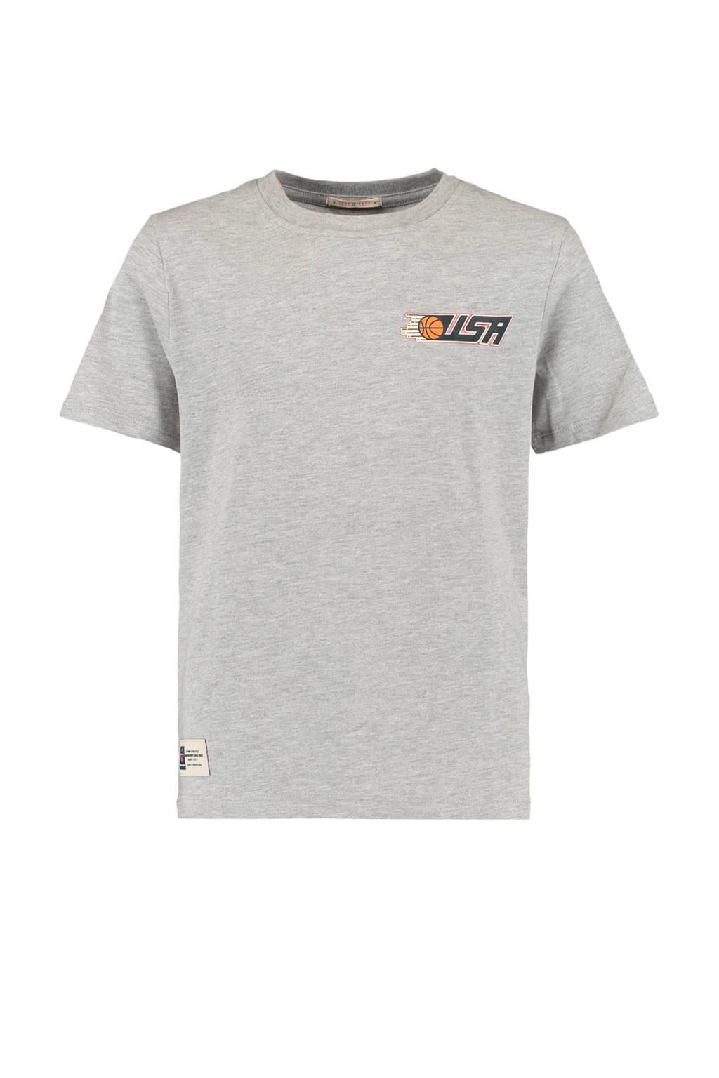 America Today Junior T-shirt Elvin met printopdruk lichtgrijs melange, Lichtgrijs melange