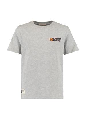 T-shirt Elvin met printopdruk lichtgrijs melange