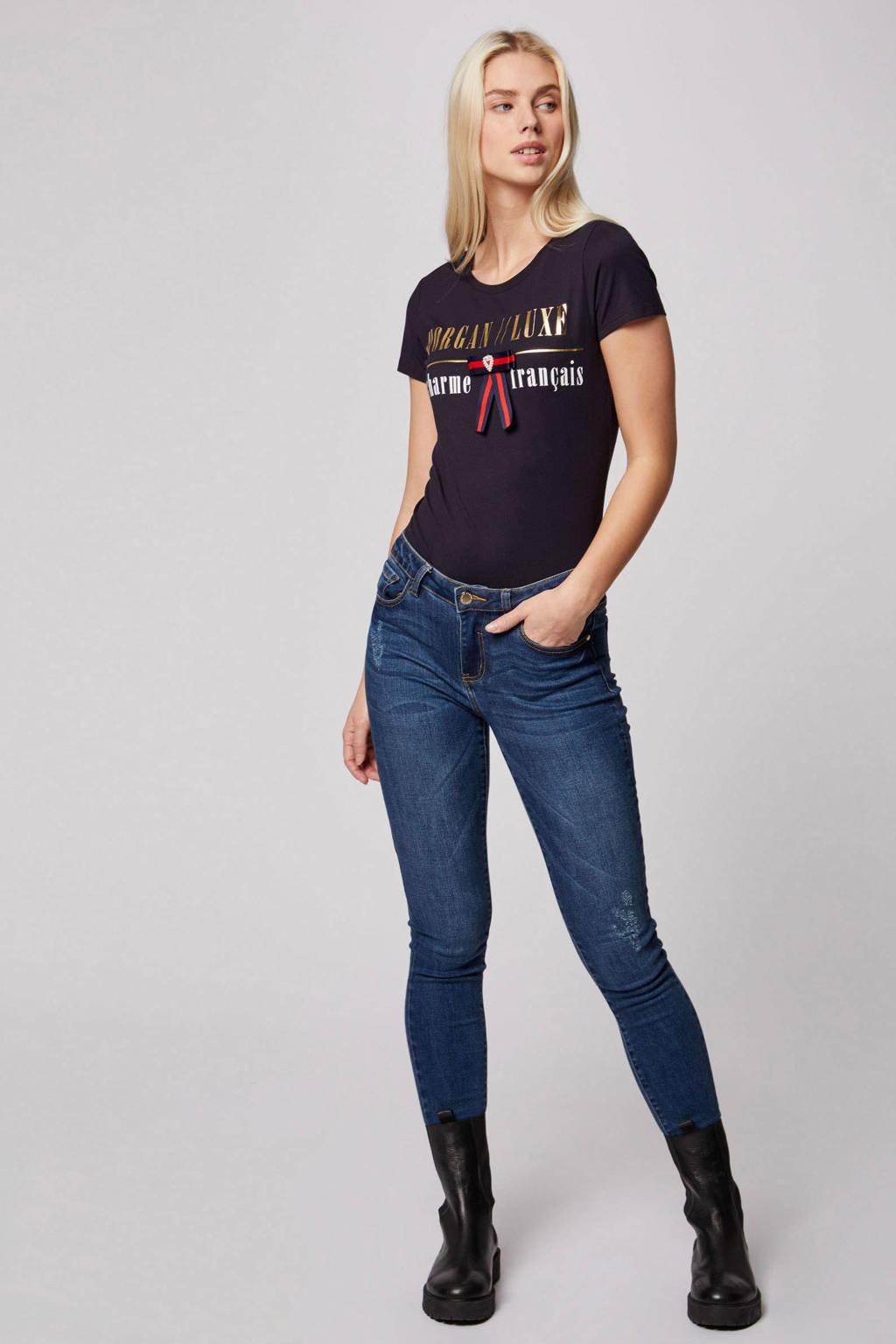 Morgan T-shirt met tekst en glitters marine, Marine