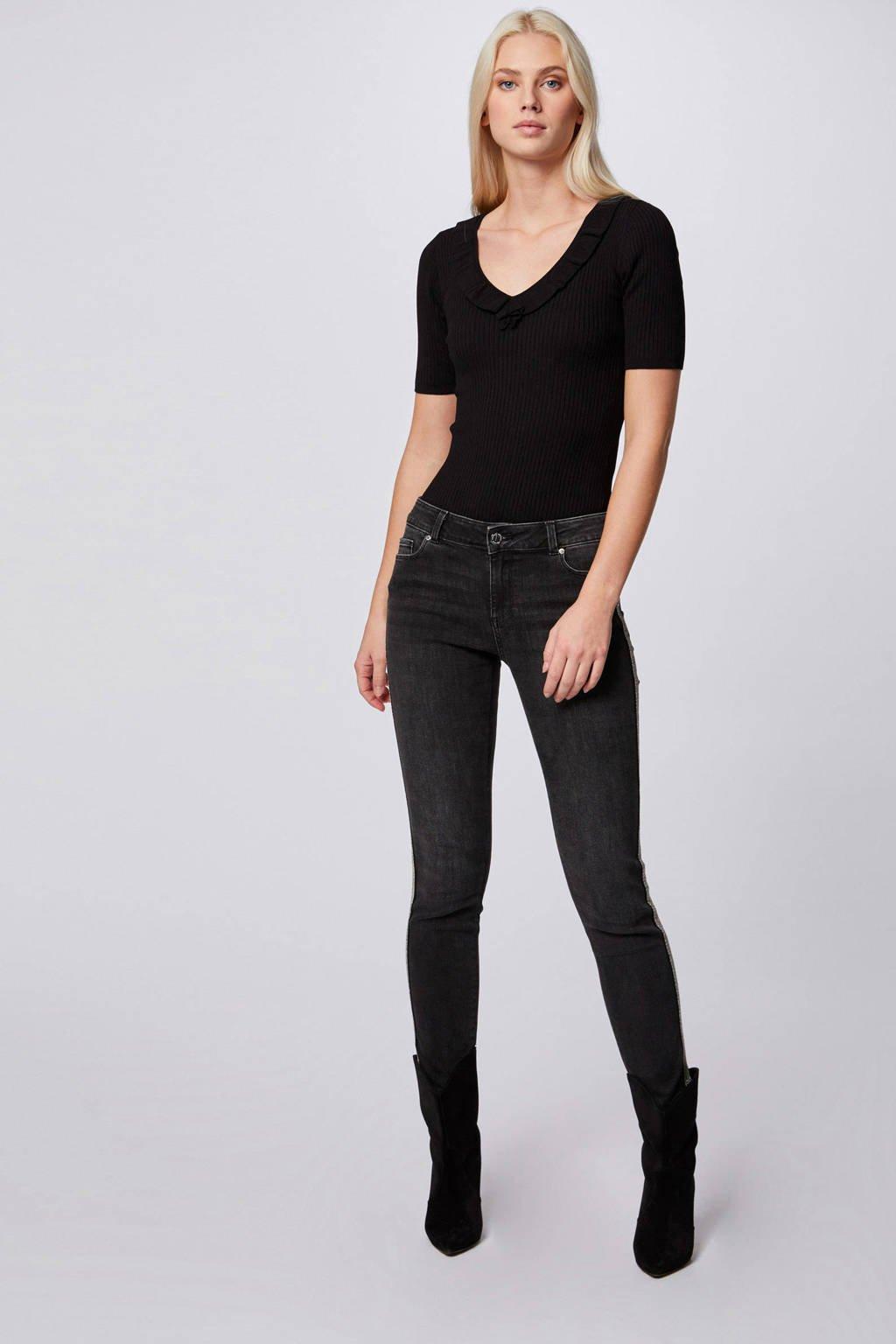 Morgan fijngebreid basic T-shirt met ruches zwart, Zwart