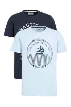 T-shirt (set van 2) lichtblauw/donkerblauw