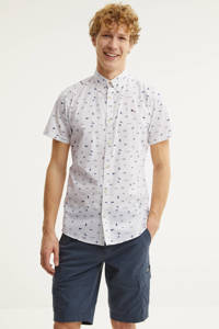 PRODUKT slim fit overhemd Holger met all over print wit, Wit