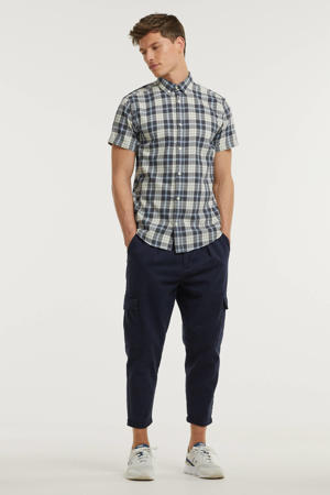 geruit regular fit overhemd James ecru/blauw